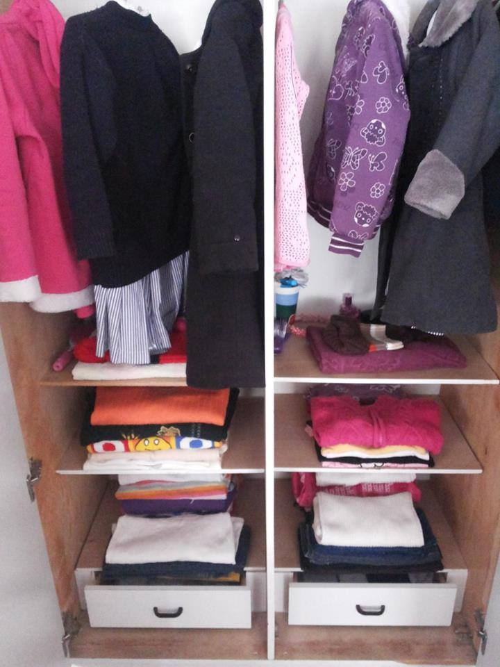 Folding clothes in the wardrobe